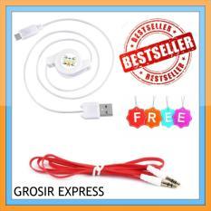 Kabel Data Tarik Micro USB - Putih Gratis 1 Buah Kabel Aux Flat Colour 3.5 mm