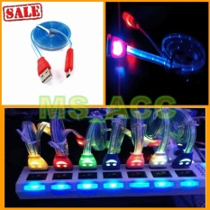 Kabel Micro Usb Smiley LED / Kabel Data Lampu LED - Warna Random