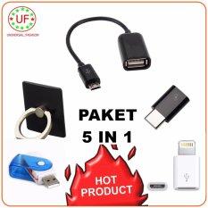 Kabel OTG Connect Kit Mobile Phone Multi Fungsi + Ring Stand + Card Reader Special Micro SD + Konektor Iphone 5 + Konektor Type C