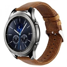 KADES Genuine Leather Retro Cowhide Smart Watch Band with quick release pin for Samsung Gear S3 Classic and Gear S3 Frontier (Large,Brown)