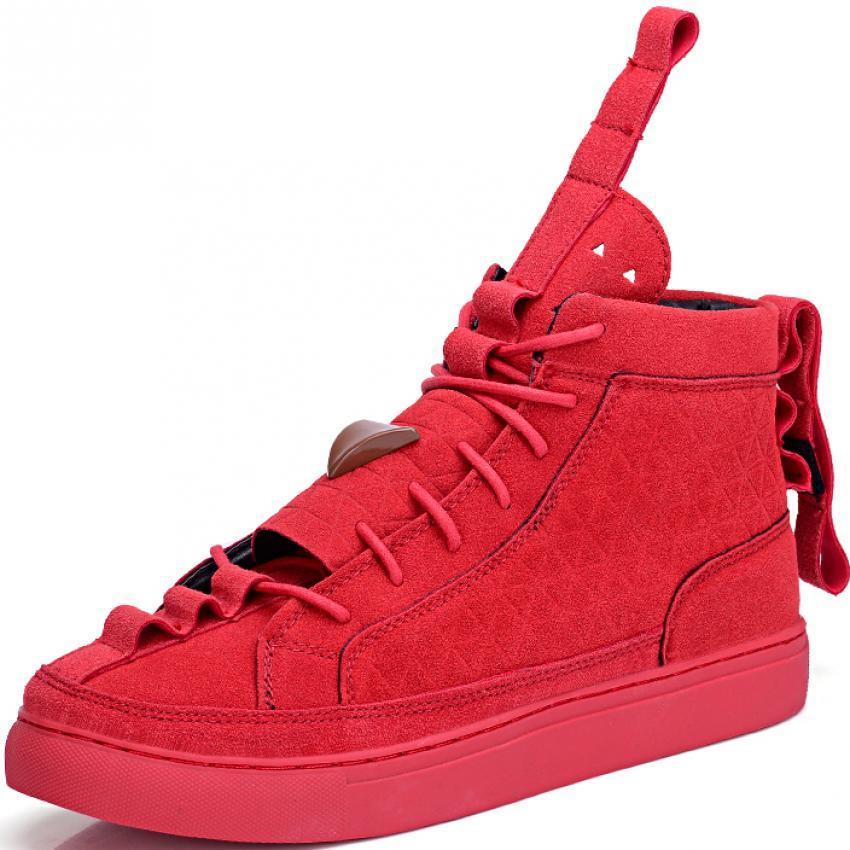 Harga Kailijie Perempuan Suede Kulit Sneakers Unisex Tinggi Memotong Sepatu Merah Tiongkok