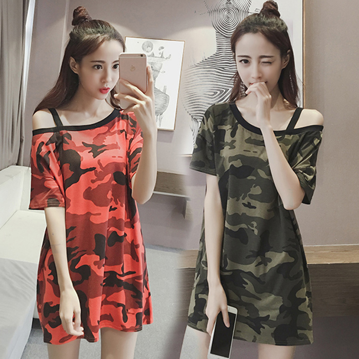 Harga Kamuflase Setengah Panjang Model Kerah Datar Lengan Pendek Suspender T Shirt Hijau Tentara Warna Kamuflase Baju Wanita Baju Atasan Kemeja Wanita Termurah