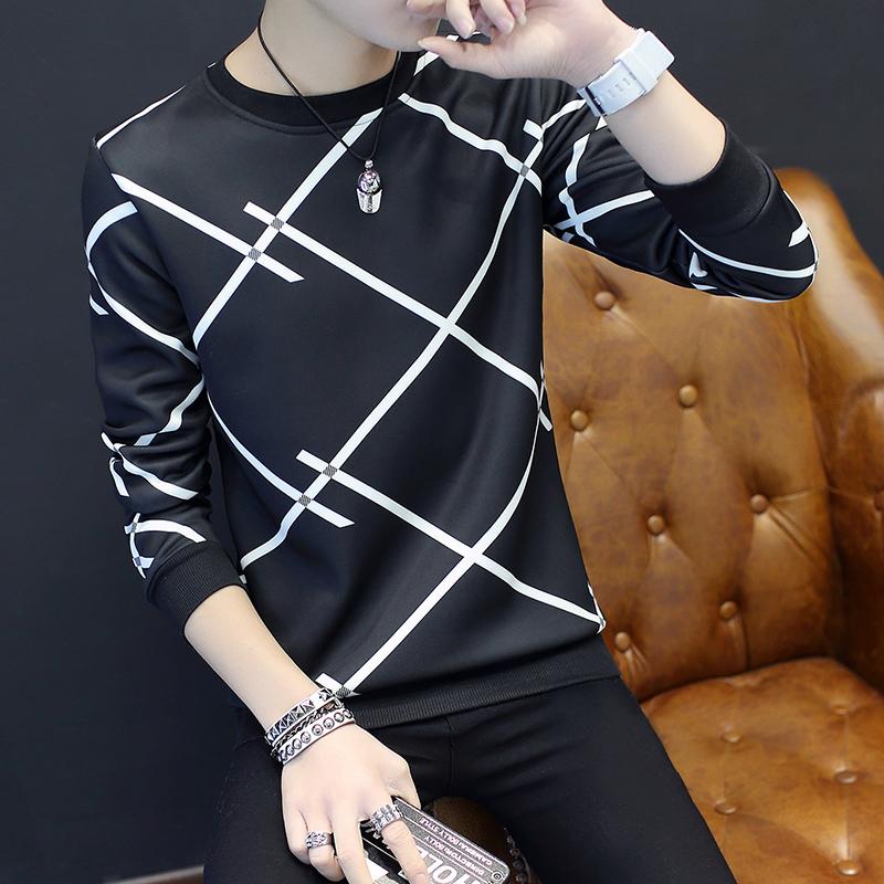 Tren Tambah Beludru Leher Bulat Slim Pakaian Pria Kaos Sweater T Shirt Banyak X Hitam Diskon Akhir Tahun