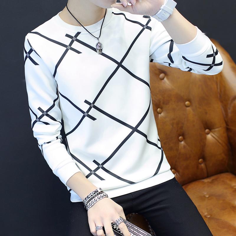 Spesifikasi Tren Tambah Beludru Leher Bulat Slim Pakaian Pria Kaos Sweater T Shirt Banyak X Putih Bagus