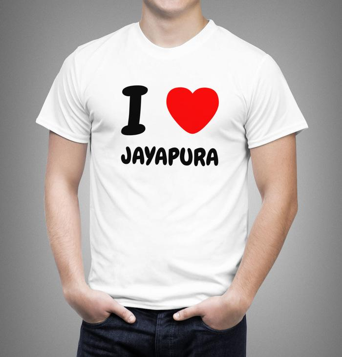 Kaos Pria I LOVE Jayapura Uk Bayi - Dewasa 0 - L (23 Warna)