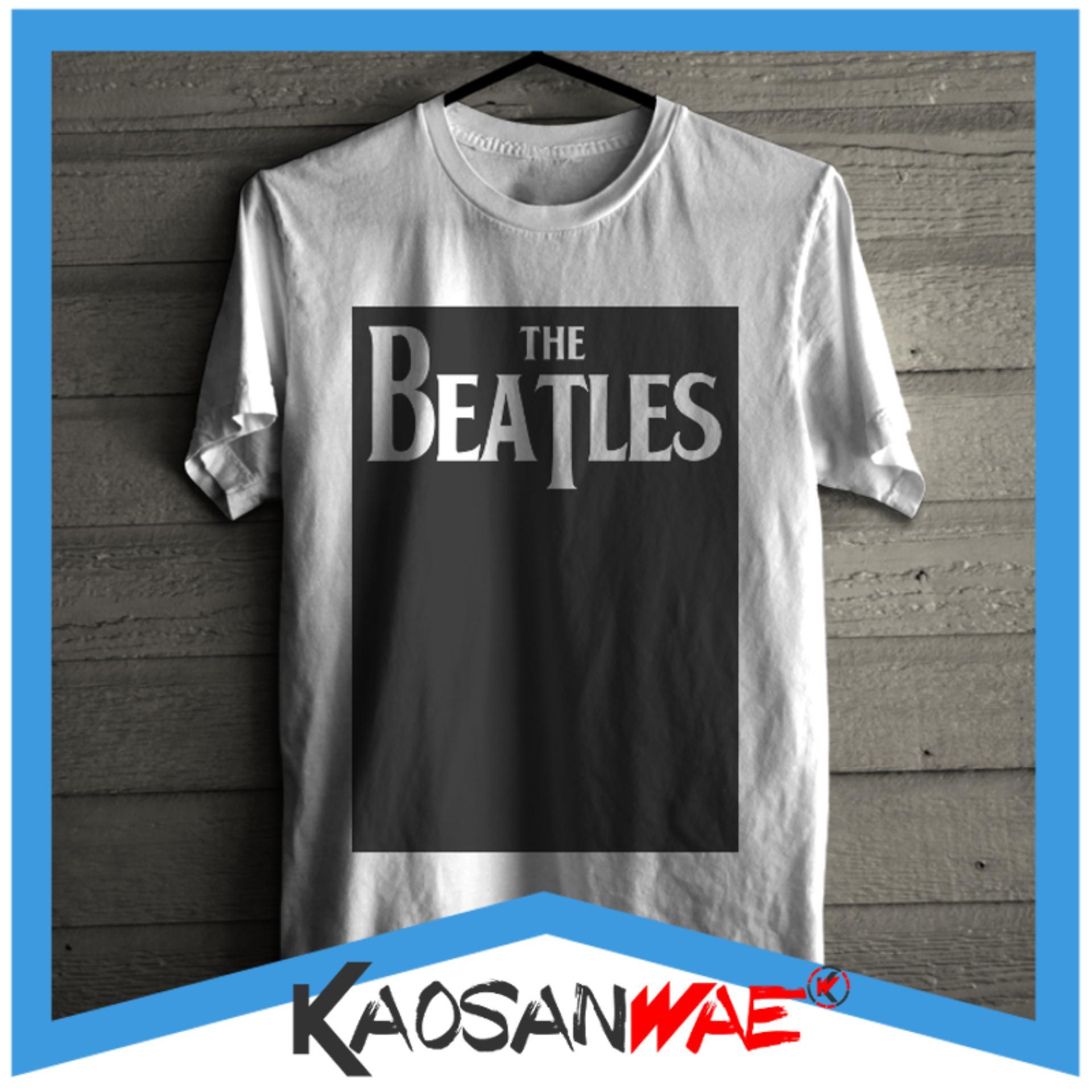 Kaos The Beatles Logo Band Musik Desain Blok Tshirt KaosanWae
