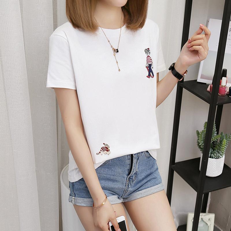 Spesifikasi Kaos Wanita Lengan Pendek Terlihat Langsing Ukuran Besar Gaya Korea 308 Bordir Orang Putih Baju Wanita Baju Atasan Kemeja Wanita Oem