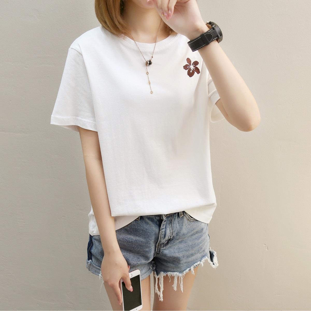 Review Pada Longgar Korea Wanita Kulit Putih Lengan Pendek T Shirt Sederhana T Shirt 274 Putih