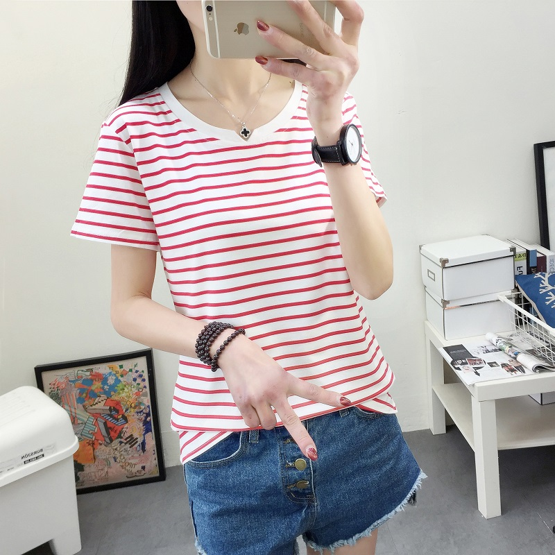 Beli Looesn Korean Style Black And White Striped Short Sleeved Versatile Bottoming Shirt 559 Merah Dan Putih Bergaris Online Tiongkok