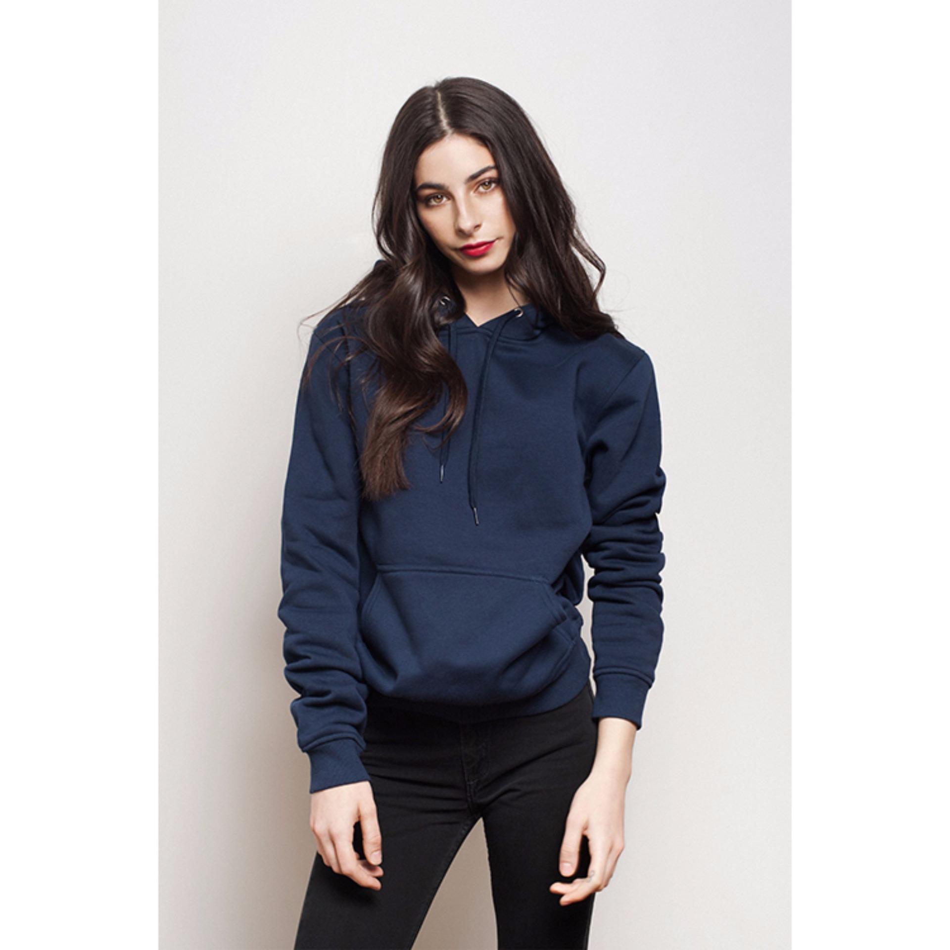 Jual Kaosbro Jaket Hoodie Polos Navy Blue Wanita Import