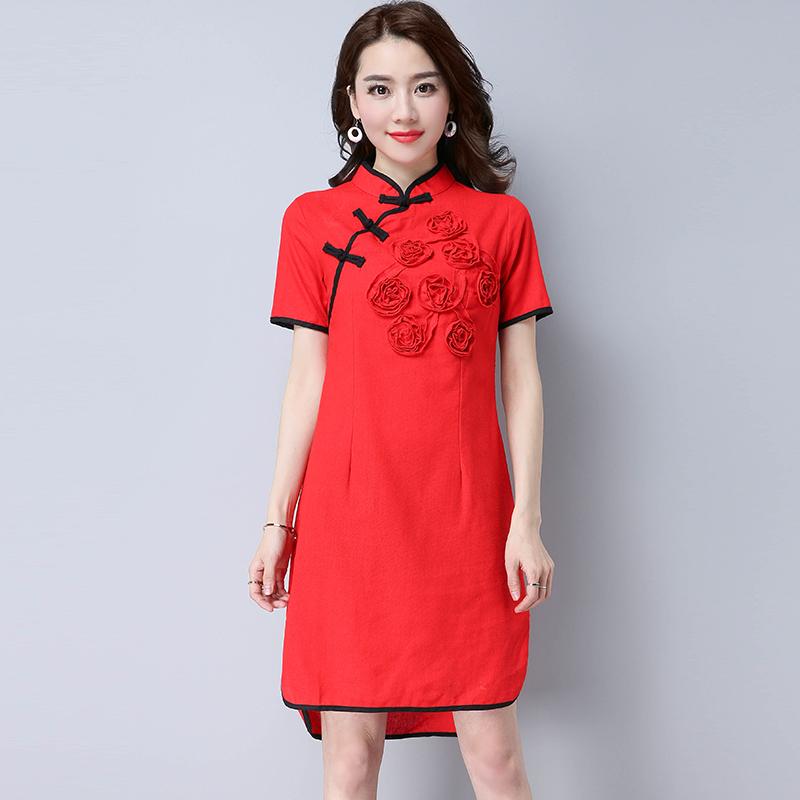 Harga Kapas Angin Nasional Perempuan Tombol Piring Gaun Cheongsam Merah Baju Wanita Dress Wanita Gaun Wanita Fullset Murah