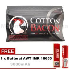 Kapas Rokok Elektrik Cotton Bacon by WICK N VAPE Organic/Organik For Vaporized RTA RDA RDTA + Free Batterai AWT 18650 3000mAh - Merah