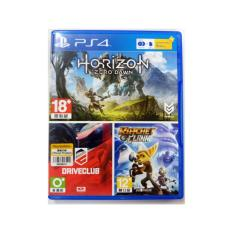 KASET PS4 BUNDLE HITS 3IN1+ PSN 3 BULAN (HORIZON ZERO DOWN+ DRIVE CLUB + RACHET AND CLANK + VOUCHER PSN 3 BULAN)