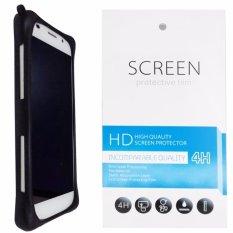Kasing Silikon Universal Bumper Case Wadah Cover Casing - Hitam + Gratis 1 Clear Screen Protector untuk Microsoft Lumia 540 Dual SIM