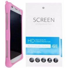 Kasing Silikon Universal Bumper Case Wadah Cover Casing - Merah Muda + Gratis 1 Clear Screen Protector untuk Lenovo Golden Warrior Note 8