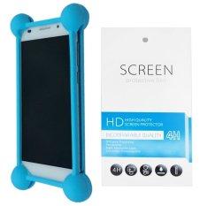 Kasing Universal Wadah Cover Silikon Case Casing - Biru + Gratis 1 Clear Screen Protector for Microsoft Lumia 540 Dual SIM