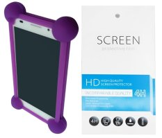 Kasing Universal Wadah Cover Silikon Case Casing - Ungu + Gratis 1 Clear Screen Protector for Oppo Neo 5S