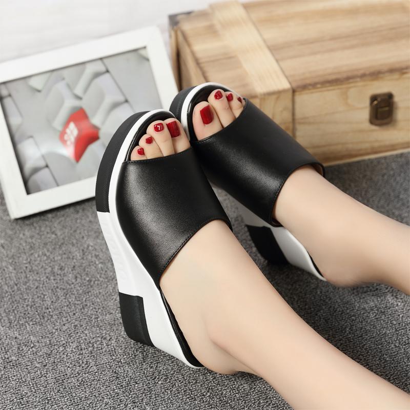 Promo Toko Kasual Kulit Siswa Mulut Ikan Sepatu Sandal Wanita Sendal Z33 Hitam Sepatu Wanita Sandal Wanita
