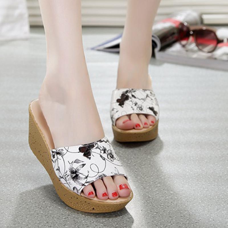 Harga Hemat Kasual Kulit Yang Berat Itu Perempuan Sandal Bertumit Tinggi Dan Sandal Sepatu Ibu Timbul Hitam Impor Pu Sepatu Wanita Sandal Wanita