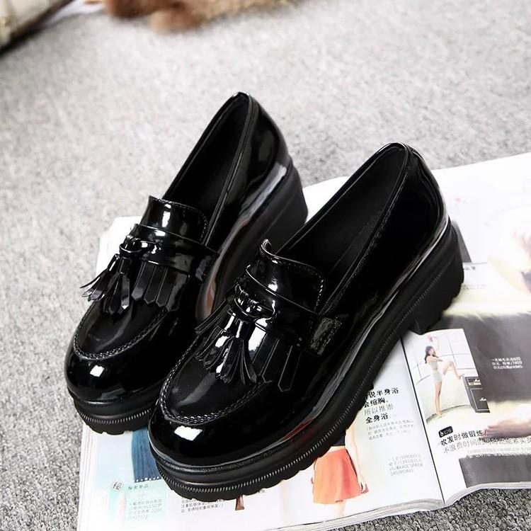 Jual Kasual Perempuan Musim Gugur Dengan Sepatu Kulit Kecil Sepatu Hitam Murah