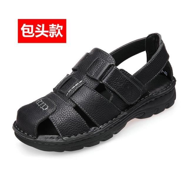 Jual Kasual Pria Kulit Ini Sandal Kulit Musim Panas Laki Laki Dan Sandal Baotou Model Hitam Sepatu Pria Sepatu Sendal Branded Original