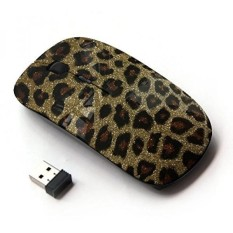 Kawaii Mouse [OPTIK 2.4G Nirkabel Mouse] Emas Bling Berkilau Leopard Pola Bulu-Internasional