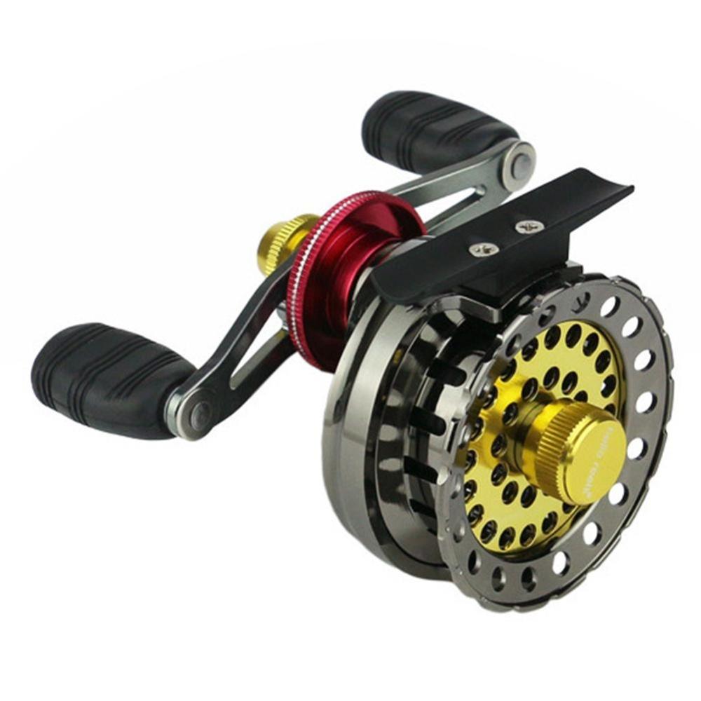 Kawat Logam Piala Fishing Reel Kanan/Kiri Handed Fishing Raft Wheel untuk Memancing Es Spesifikasi