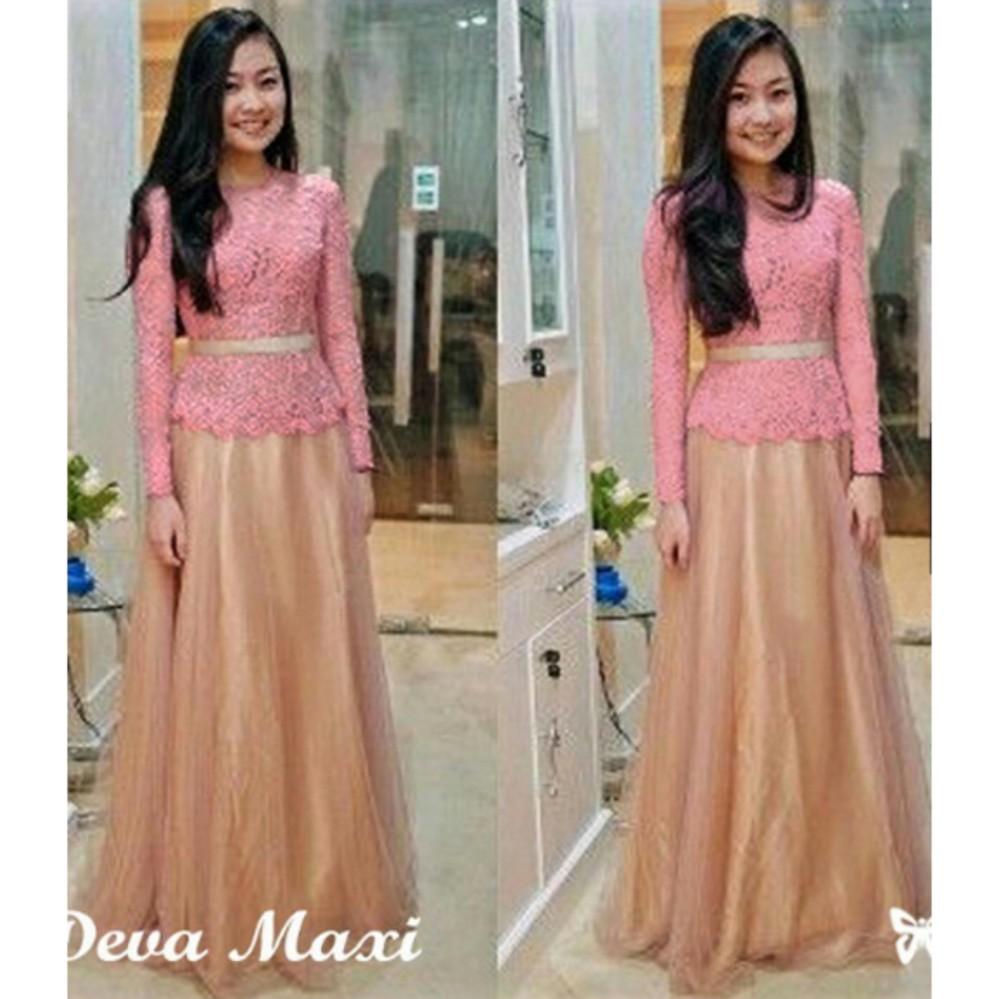 Review Kebaya Modern Brukat Maxi Dress Terbaru Lengan Panjang Gaun Pesta Baju Kondangan Wanita Ihdeva Di Banten