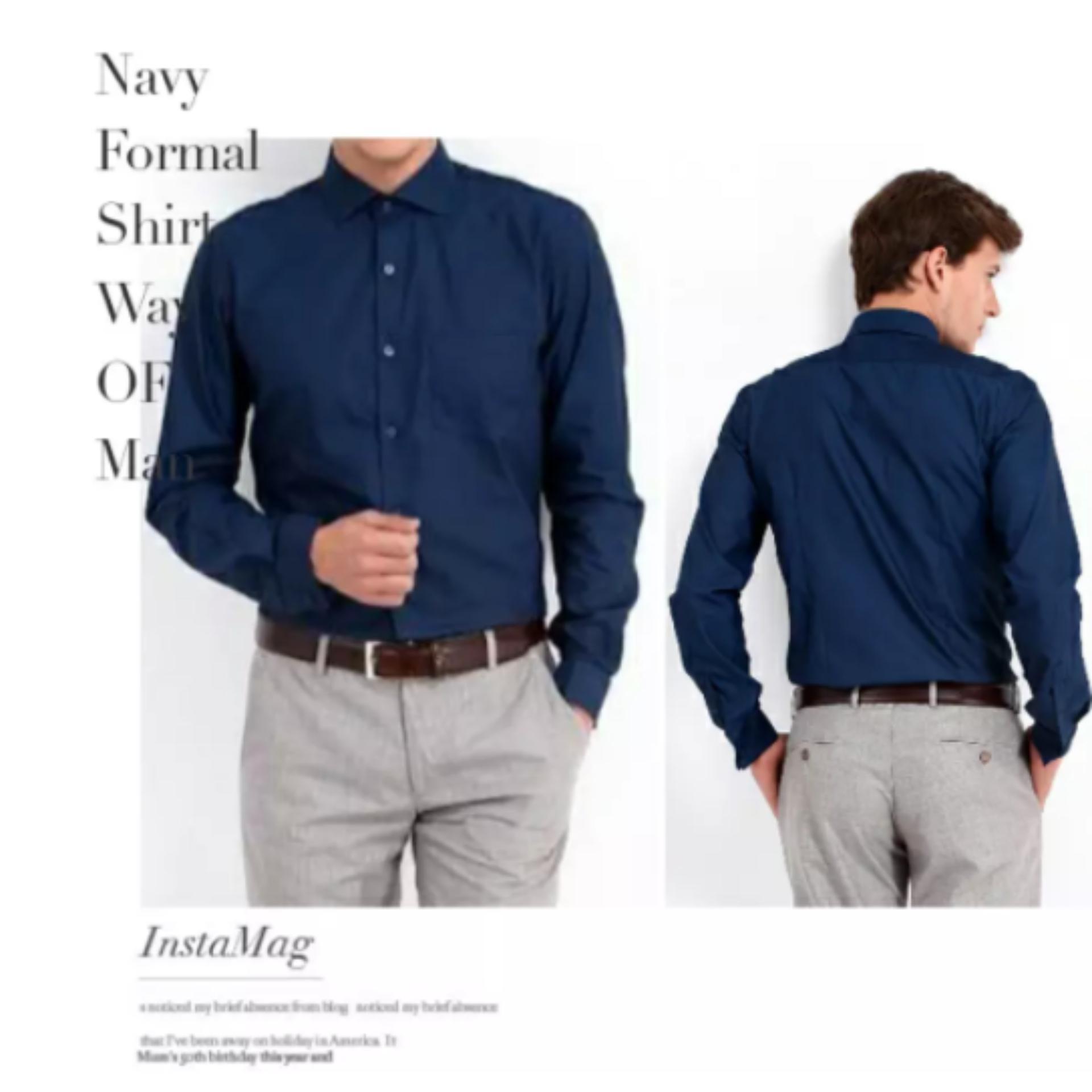Kemeja Formal Biru Navy Original Jerry Moss