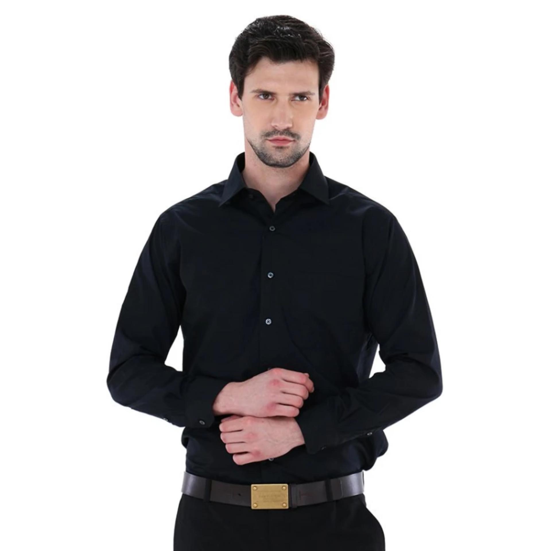 Spesifikasi Kemeja Pria Alisan Panjang Hitam Slimfit Baru
