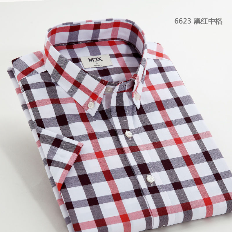 Kemeja Pria Model Tipis Lengan Pendek Berkotak Ukuran Besar Membentuk Tubuh Versi Korea 6623 Hitam Dan Merah Di Jaringan Diskon Tiongkok