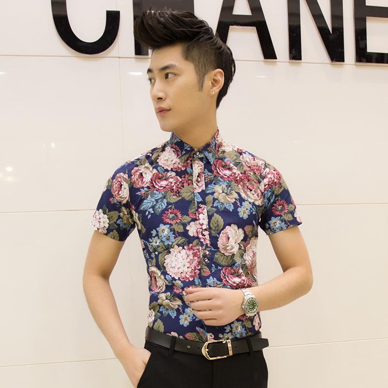 Toko Kemeja Pria Model Tipis Lengan Pendek Motif Cetak Bunga Bunga Membentuk Tubuh Versi Korea D06 Suami Hijau Termurah Di Tiongkok
