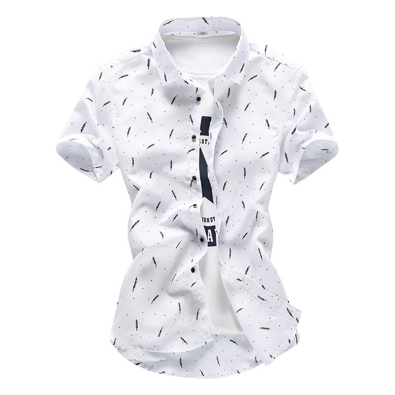 Jual Summer Casual Men S Korean Style Shirt Shirt Hitam Dan Putih Bulu Lengan Pendek Oem Di Tiongkok