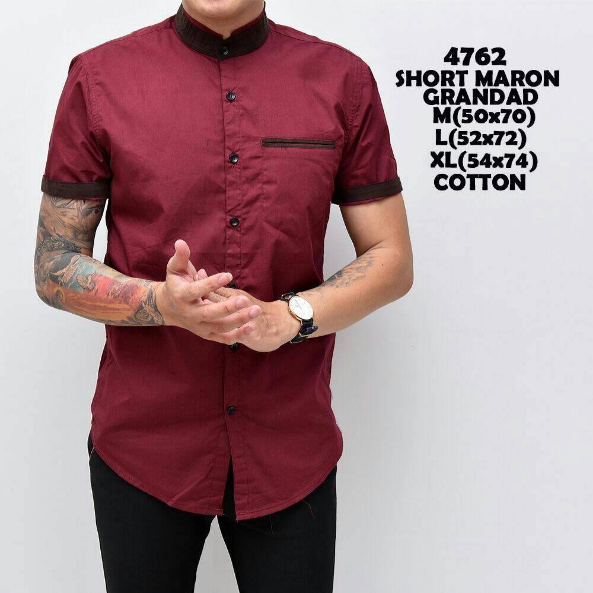 Harga Kemeja Pria Murah Kerah Sanghai Baju Kerja Cowok Slimfit Lengan Pendek Kaos Casual Keren Original