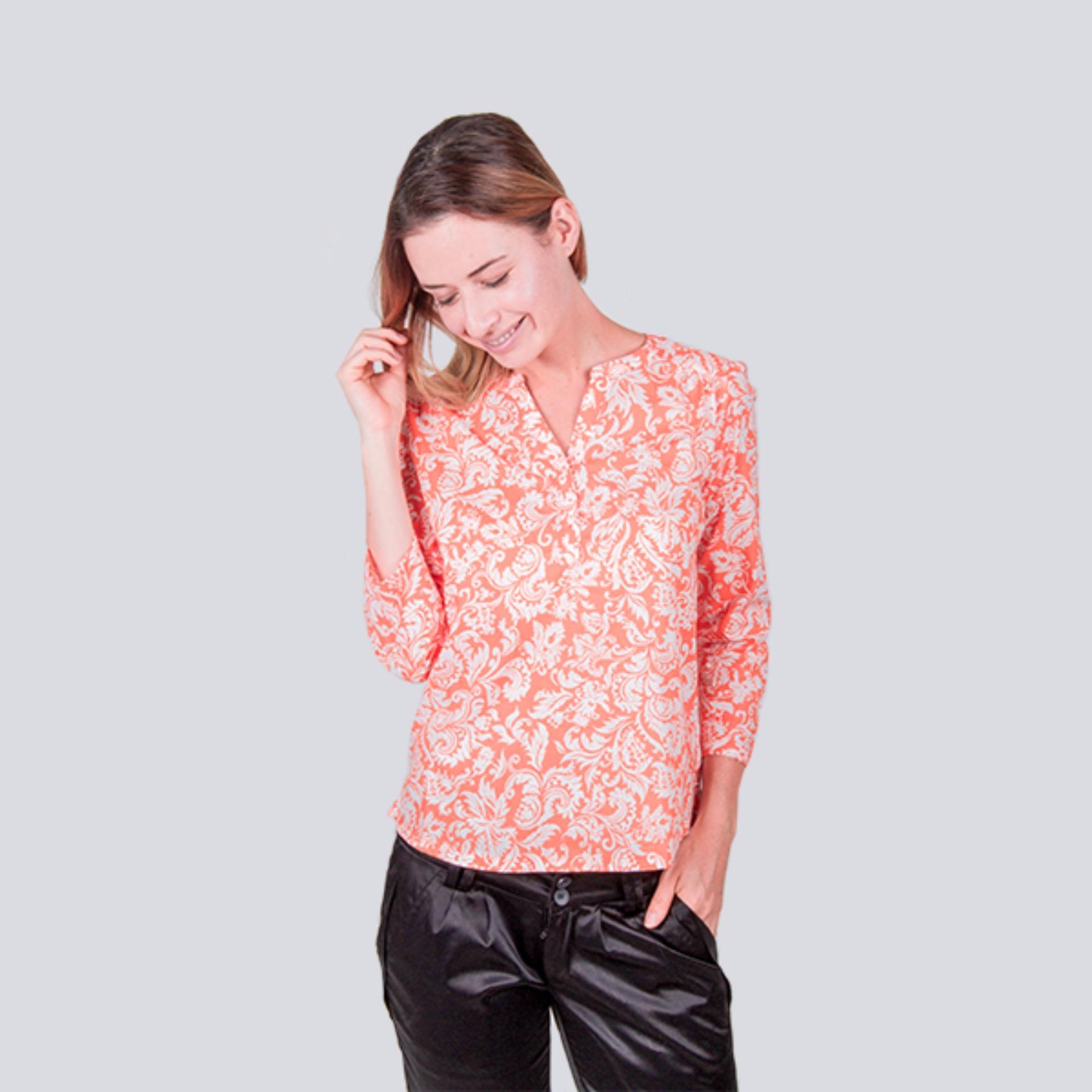 Review Kemeja Seen Wanita Lengan 3 4 Bahan Cotton Multi Di Banten