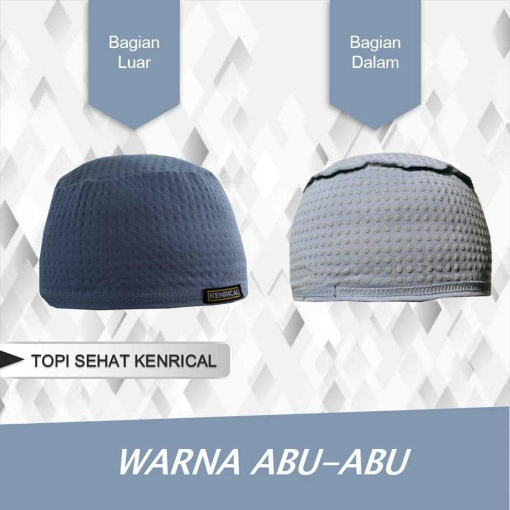 Kenrical - Peci / Kopiah / Topi / Kupluk Terapi Relaksasi Kesehatan dari Batu Tourmalin - Abu Abu