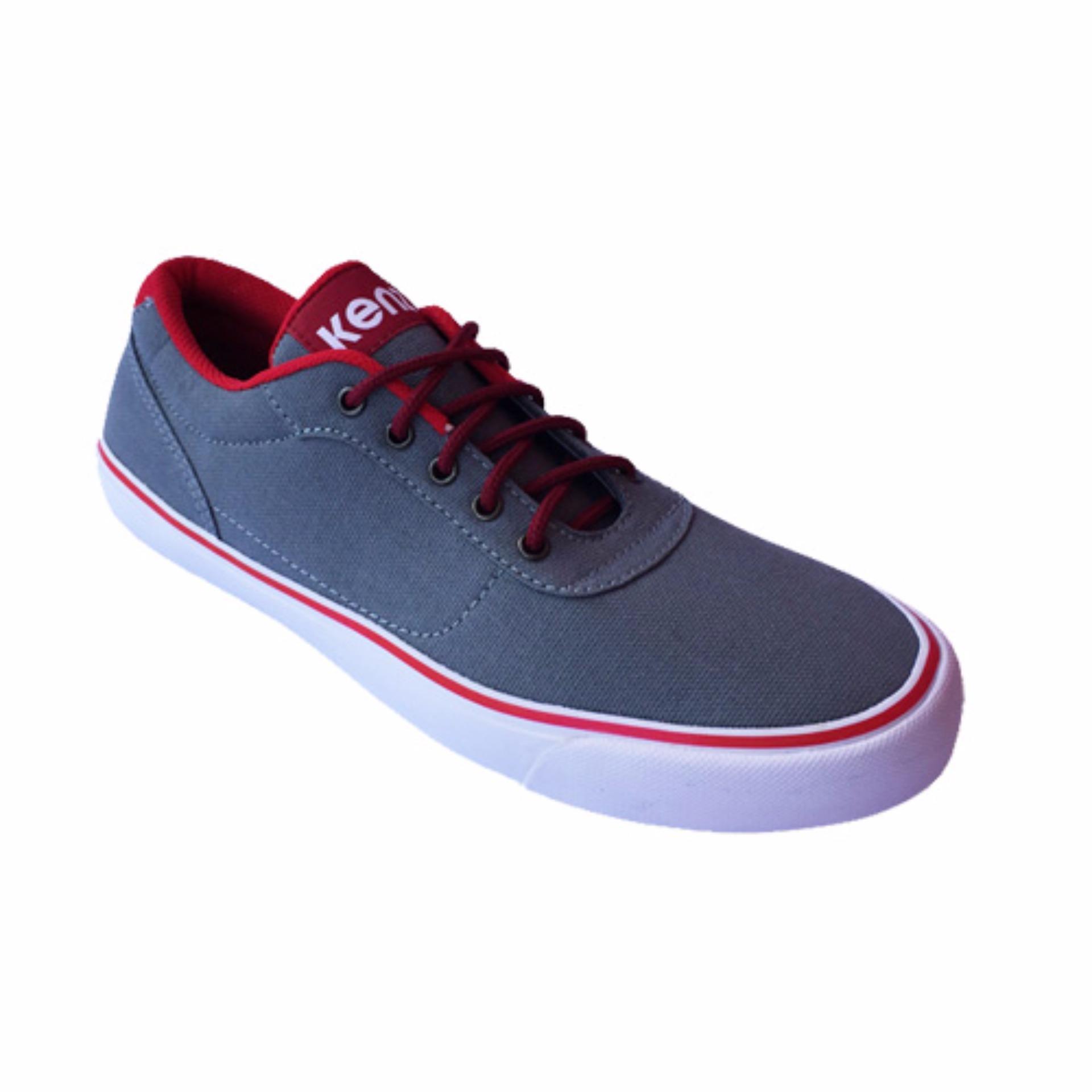 Harga Kenz Classic Sepatu Pria Sneakers Grey Red Asli Kenz