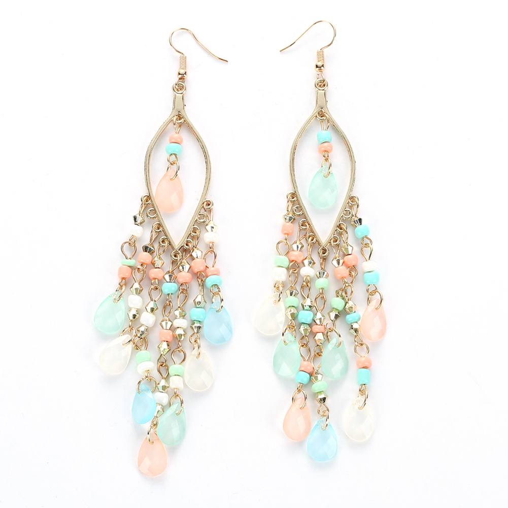 Kepribadian Bohemia Beads Kristal Berlian Imitasi Rumbai Earrings (Multicolor)-Intl