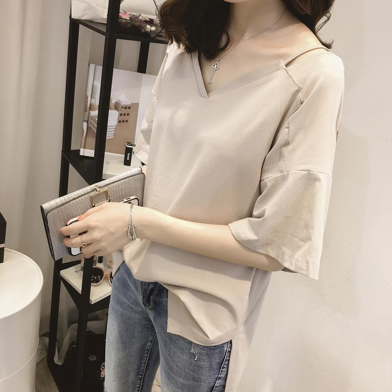 Review Kerah Pasang Warna Solid Lengan Pendek T Shirt Dangkal Coklat Muda Oem