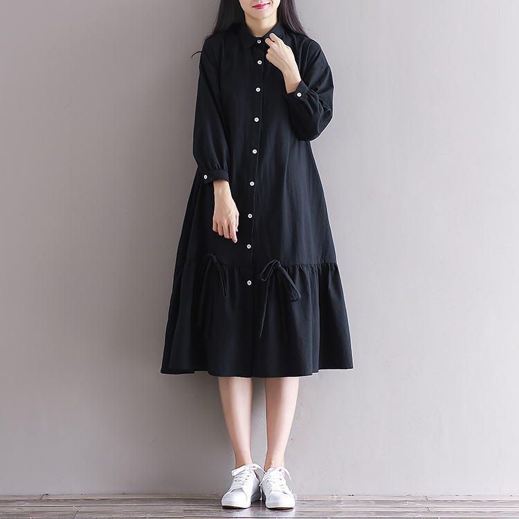 Harga Kerah Persegi Retro Kain Linen Musim Semi Pullover Gaun Hitam Baju Wanita Dress Wanita Gaun Wanita Other Online