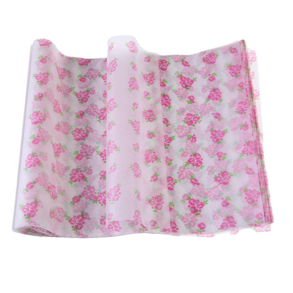 Kertas lilin untuk pembungkus makanan Waterproof parafin surat pola bunga merah