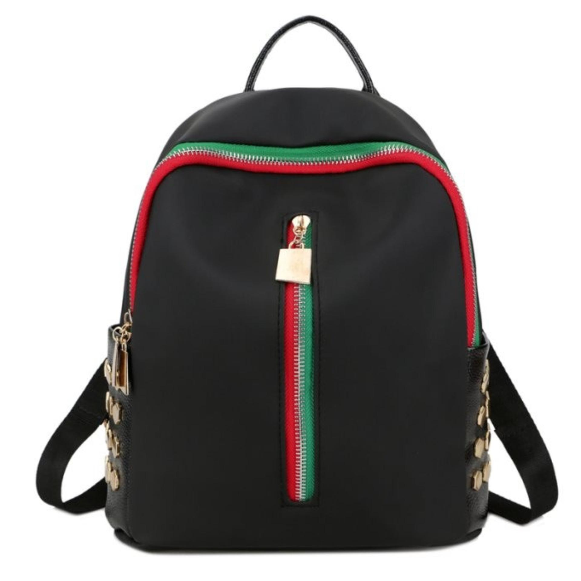 Promo Kgs Tas Ransel Mini Backpack Wanita Casual Red Green Vertical Zipper Hitam Murah