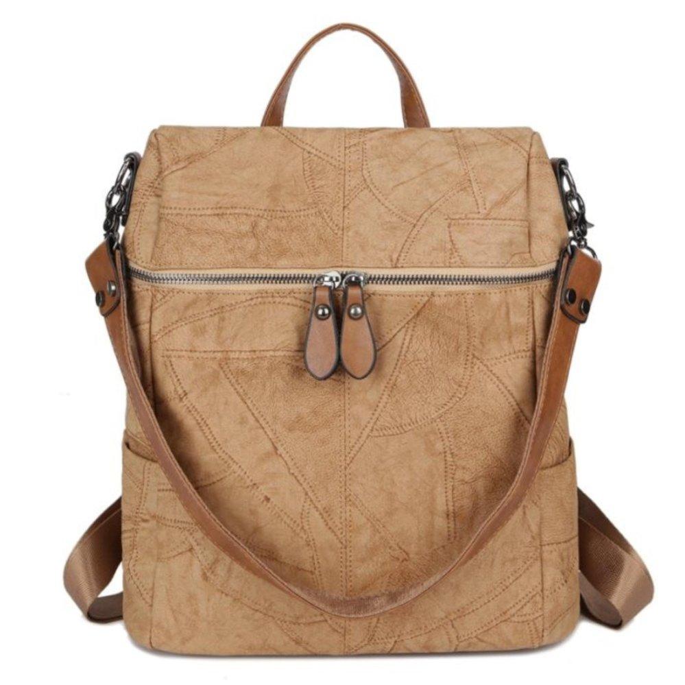 Toko Kgs Tas Ransel Backpack Wanita Kerja Casual Washed Thread Khaki Kgs