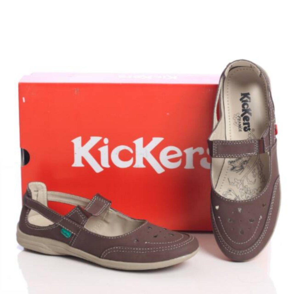 Review Kickers Women Brown With Strap Terbaru