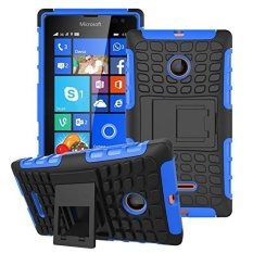 Kickstand Hybrid Dual Layer Armor Defender Silicone Hard Case Shock Absorption Cover untuk Microsoft Nokia Lumia 435