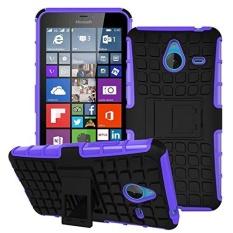Kickstand Hybrid Dual Layer Armor Defender Silicone Keras Case Tahan Guncangan Cover untuk Microsoft Nokia Lumia 640 XL-Intl