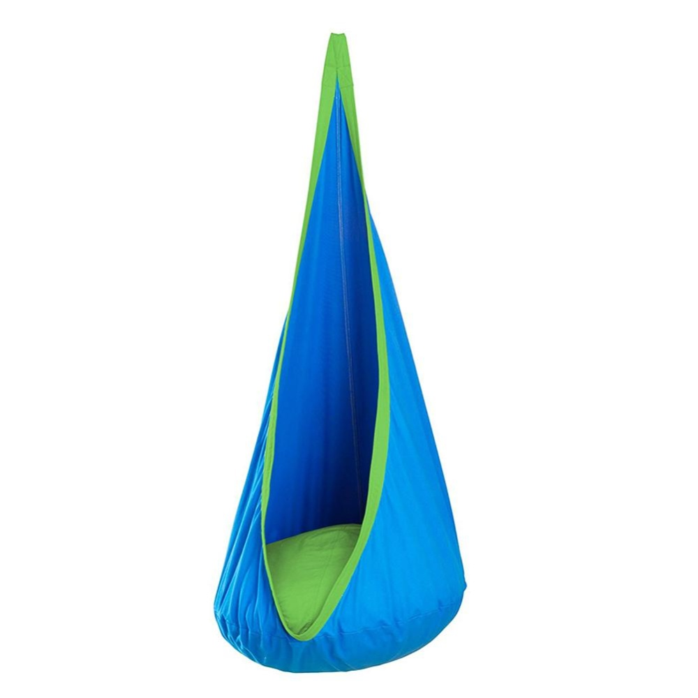 Kids Cotton Hanging Nest, Baby Hammock with Inflatable Cushion, Children Swing Chair Color:Blue Size:Expand 70 * 150CMPinkblueEmeraldOrange - intl