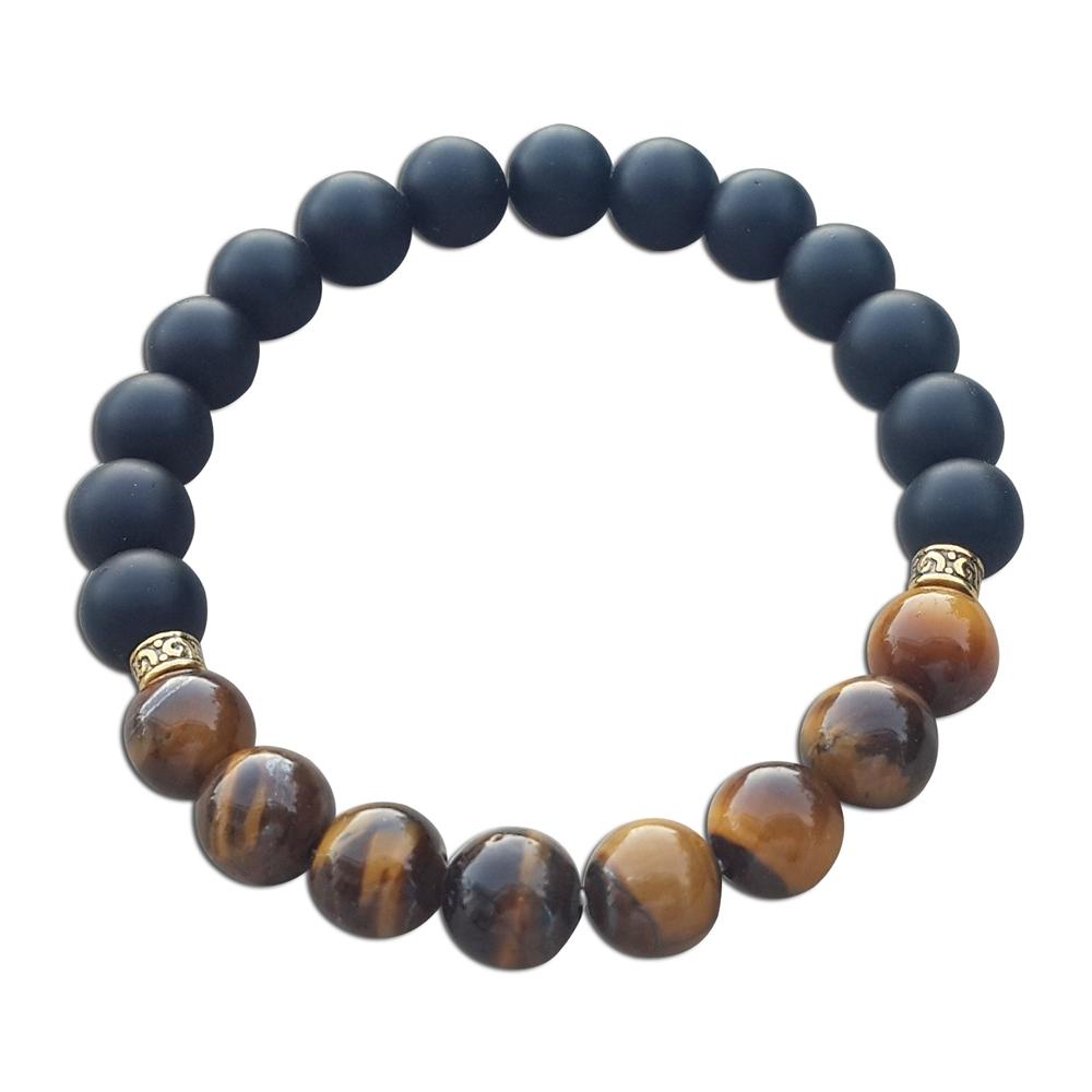 Beli Kimi Jewelry Gelang Batu Natural Matte Onyx Tiger Eye 8Mm Gelang Pria Wanita Hitam Coklat Secara Angsuran