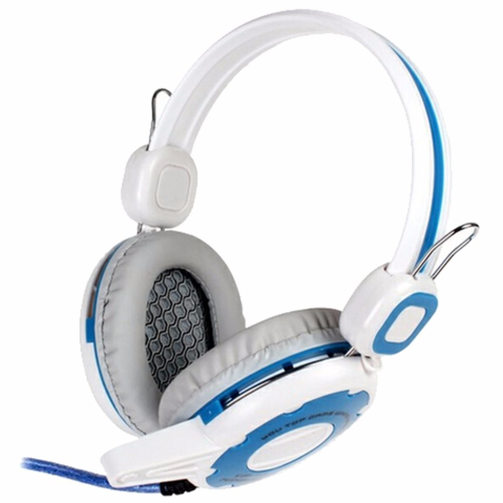 Kinbas Vp T7 Hifi Gaming Headset Dengan Mic Microphone High Quality Peralatan Audio Video Headphone Game Main Team Online Multiplayer Game Rpg Mmorpg Real Time Strategy Battle Net Play First Person Shooter Komputer Gamers Lan Putih Biru Di Jawa Barat