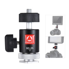 Kingjoy BD-0S Mini Ball Head Mount with Hot Shoe Adapter for Light Monitor Tripod DSLR Camera Camcorder Video Studio Photo - intl